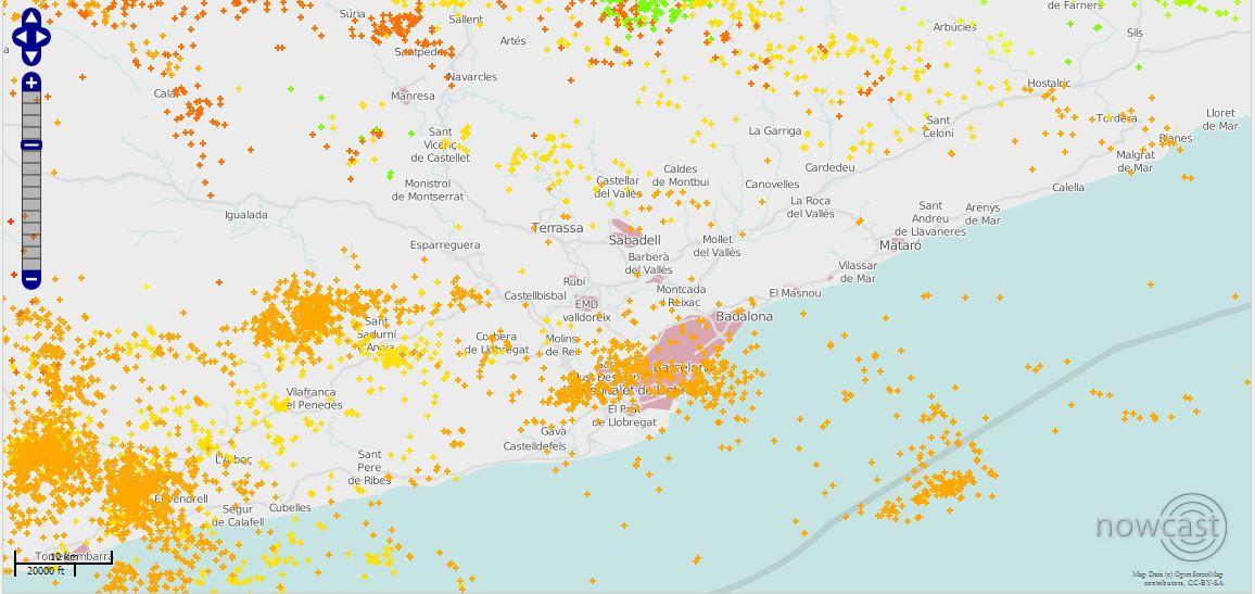 Mapa de llamps Barcelona 18072013