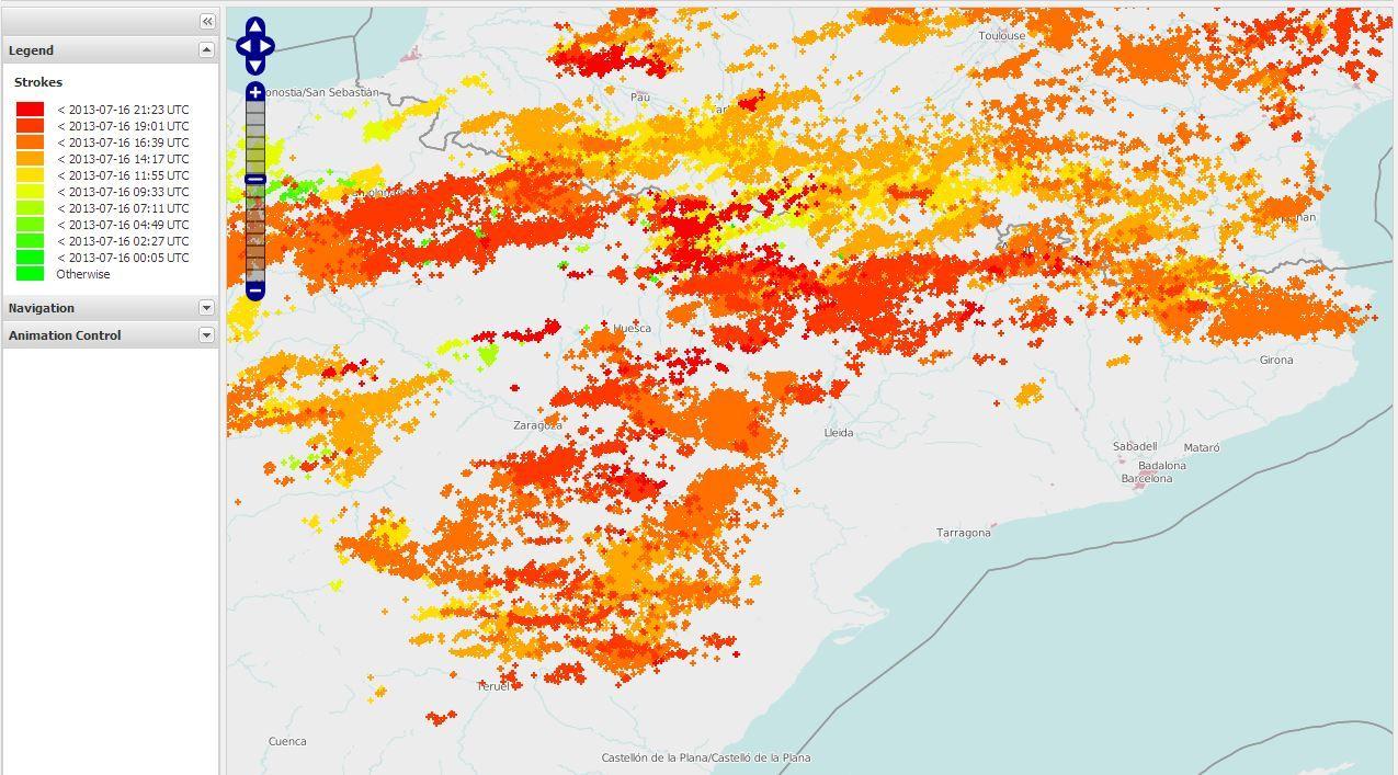 Mapa de llamps a Catalunya